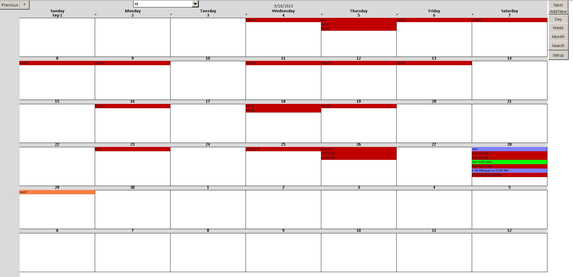 Excel Calendar Month View